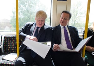 Cameron and Boris Johnson, an 'ambassador for the truth-twisting age of populism', in north-west London, 2014