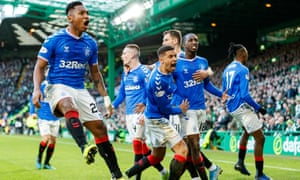 Rangers players celebrate Ryan Kent's opener, which came just four minutes after Celtic had a penalty saved.