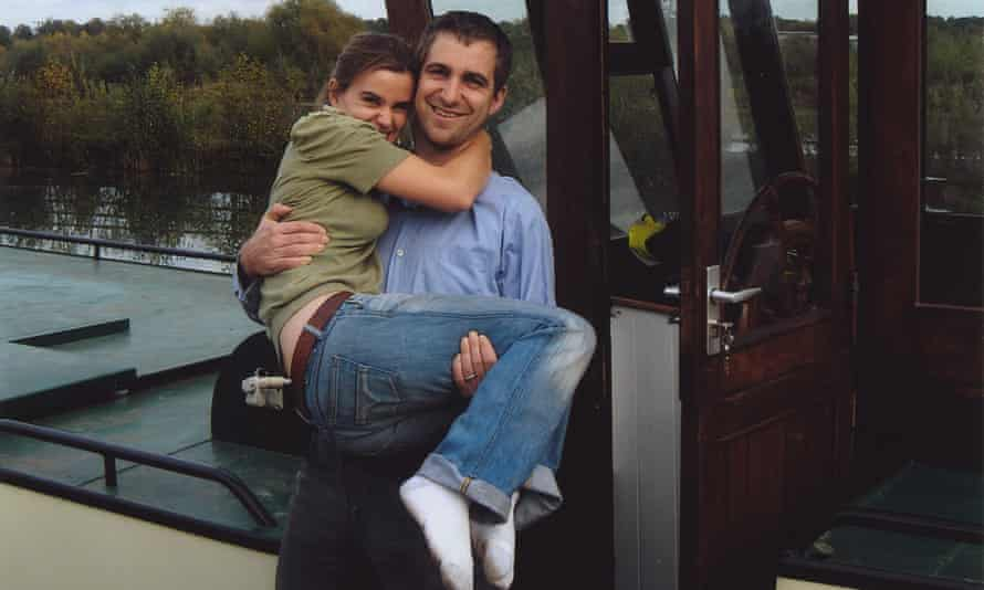Jo Cox and husband Brendan on a barge.