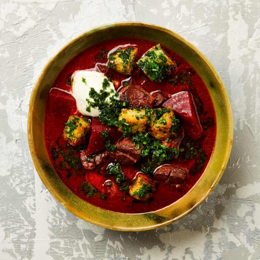 Yotam Ottolenghi's slow-cooked shin soup with pomegranate and beetroot