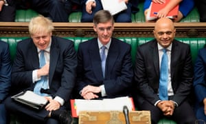 Jacob Rees-Mogg (centre) takes his seat as leader of the House of Commons.
