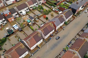 Houses and cars submerged under water in Doncaster