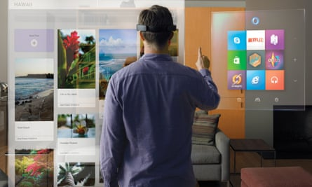 Microsoft's HoloLens, a wireless helmet that creates holographic images in front of the wearer.