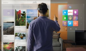 Impression of 'augmented reality' seen with a HoloLens device.