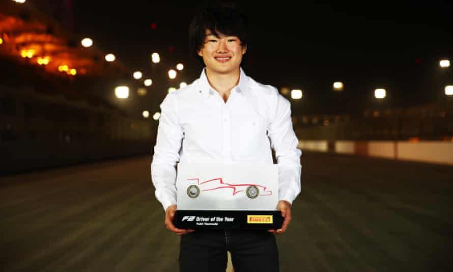 Yuki Tsunoda with the F2 driver of the year trophy in December 2020