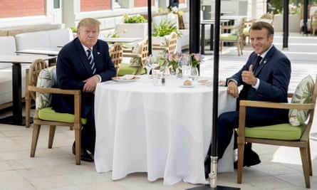 Donald Trump with Emmanuel Macron at the Hotel du Palais in Biarritz, south-west France, ahead of the start of the G7 summit