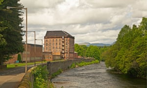 Deanston Mill now a distillery on the River Teith near Doune, Scotland.