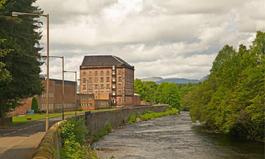 Deanston Mill now a distillery on the River Teith near Doune, Scotland.
