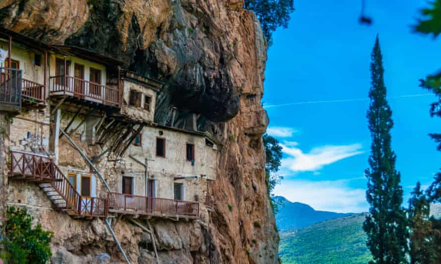Prodromos monastery in a cliff gorge in Arcadia