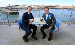 Craig Mackinlay (right) and George Osborne during a campaign visit to Ramsgate.