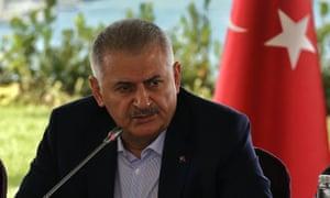 Turkey's prime minister Binali Yıldırım at a press conference