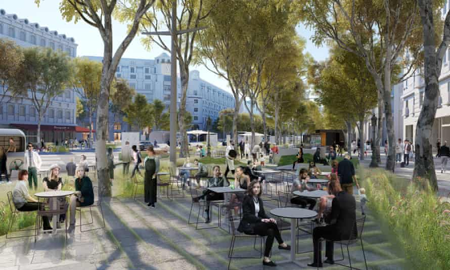 An image showing the planned redevelopment of the Champs-Élysées