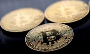 Gold-plated souvenir bitcoin coins