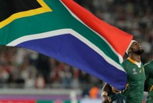 Springbok captain Siya Kolisi sings the South African national anthem before kick-off.