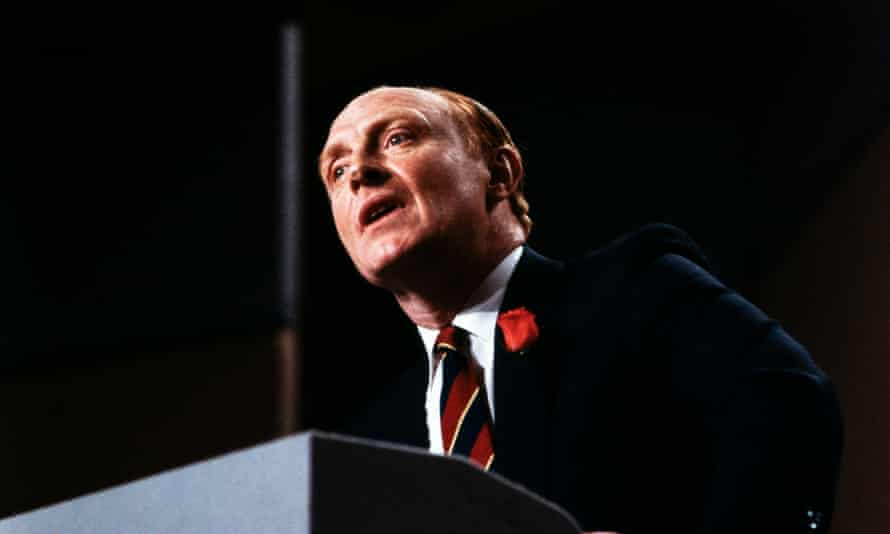 Neil Kinnock, leader of the Labour Party, addresses the Welsh Labour Party Conference in Llandudno on May 15, 1987 during the 1987 General Election campaign.