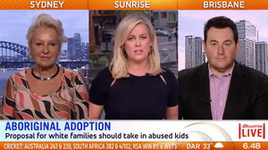 A screen grab from Sunrise tv show on Channel 7. L-R Prue Macsween, Samantha Armytage, Ben Davis.