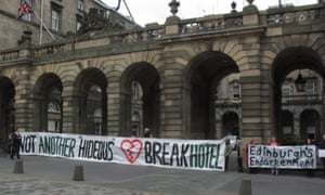 'Not another hideous heartbreak hotel': local residents protest against the development.