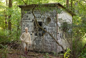 E Jean Carroll outside her shed