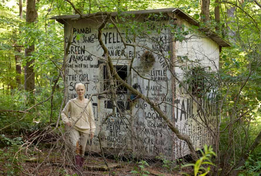 E Jean Carroll outside her shed