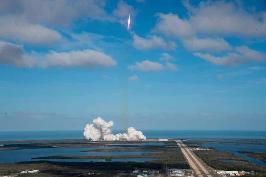The SpaceX Falcon Heavy launches from Pad 39A at the Kennedy Space Center in Florida