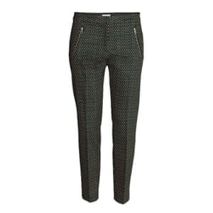patterned trousers orange black green tapered leg
