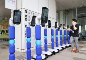 Avatarin's newme robots are readied for a demonstration in Tokyo, Japan. Each newme has the capability to transmit full-HD, 2K video that will allow users to see and interact with the robot's surroundings in high resolution