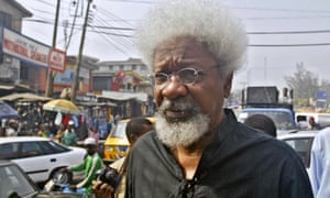Wole Soyinka, pictured at a 2006 protest against then-president Olusegun Obasanjo's leadership style in Lagos.
