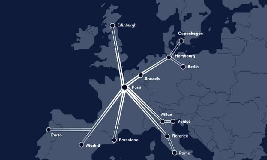 Midnight Trains' proposed route map. The company will aim to compete with short-haul flights.