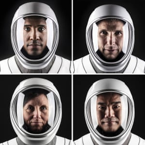 Nasa astronauts from left to right: Victor Glover, Mike Hopkins, Shannon Walker and Soichi Noguchi a space suit at SpaceX headquarters.