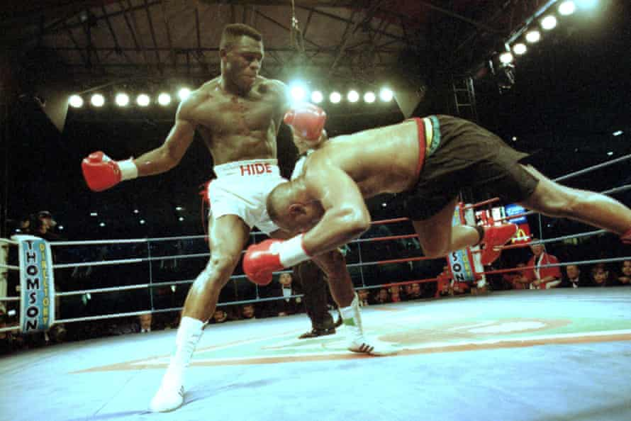 Michael Bentt falls to defeat against Herbie Hide at the Den in London.