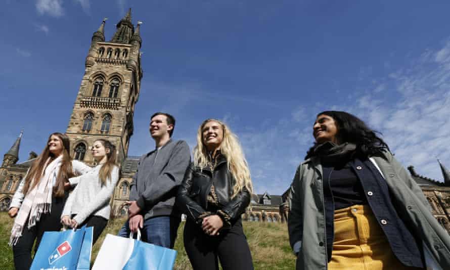 Chitra Ramaswamy with students during freshers' week at Glasgow university.