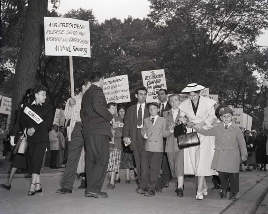 Michael, aged 10, left, and Robert, six, with their grandmother Sophie Rosenberg, at a demonstration to try to save their parents just days before their execution in June 1953.
