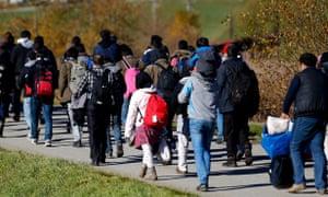 Migrants travelling across Europe.