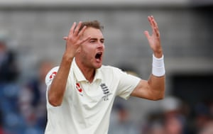 Broad frustrated by another dropped catch - this time by Jason Roy.