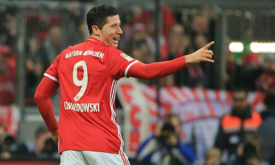 Bayern Munich's Robert Lewandowski celebrates after scoring against Wolfsburg at the weekend.