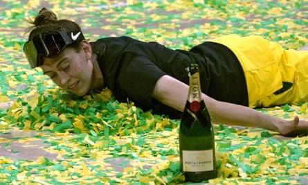 Seattle Storm forward Breanna Stewart celebrates in the confetti winning the WNBA title.