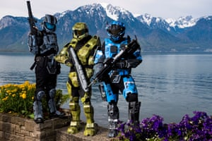 Montreux, Switzerland: People in cosplay pose on the shores of Lake Geneva during the Polymanga pop culture festival