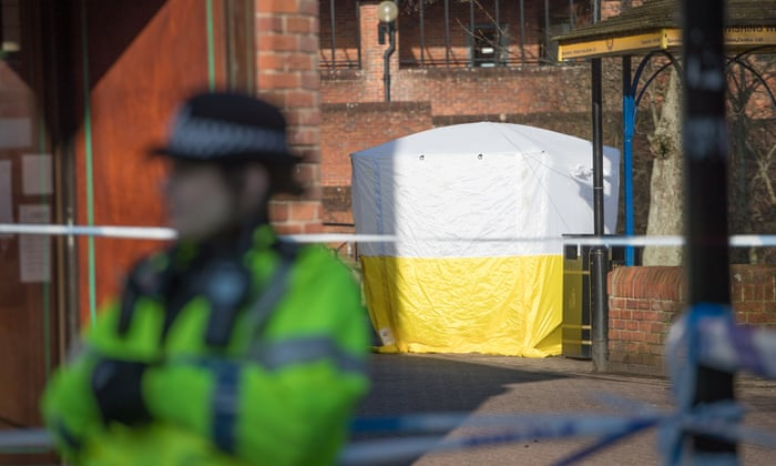 A police tent and cordon in Salisbury city centre in March
