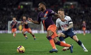 Raheem Sterling beats Kieran Trippier during Manchester City's 1-0 Premier League win over Spurs in October.