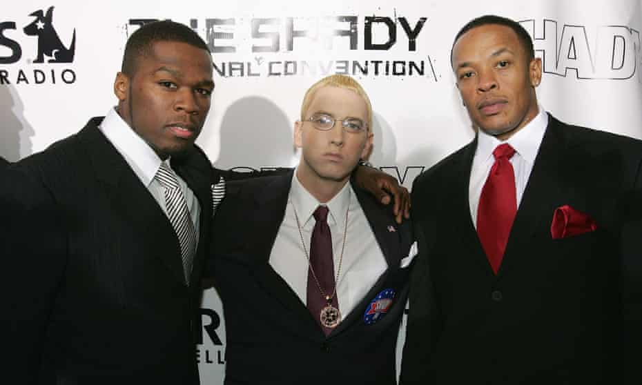 50 Cent, Eminem and Dr Dre in New York in 2004.
