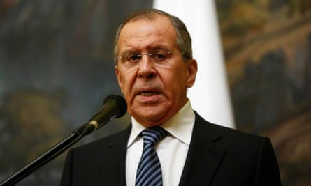 The Russian foreign minister Sergei Lavrov speaking in Moscow on Thursday.
