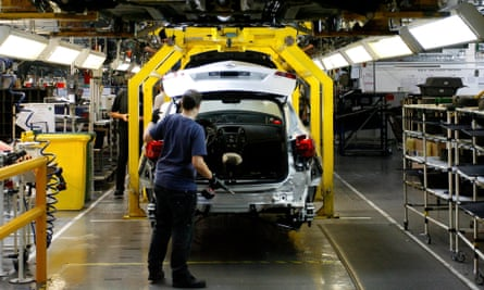 The assembly line at Peugeot PSA's Ellesmere Port factory. It could be shut down if Britain sees a no-deal Brexit.