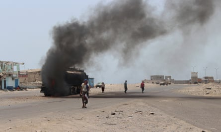 A oil tanker burning in Yemen