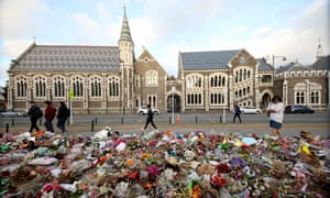 Floral tributes in memory of the mosque victims in Christchurch.