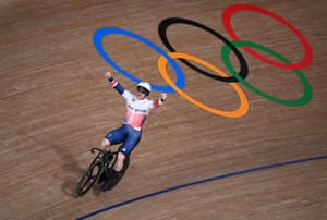 Britain's Jack Carlin celebrates after winning the bronze medal in the men's track cycling sprint.