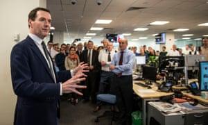 George Osborne addressing staff at the Evening Standard.