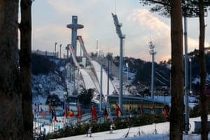 The scene as the women's biathlon 15km individual progressed at the Alpensia biathlon centre.