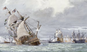 Detail from an oil painting showing the sinking of the Mary Rose
