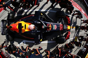 Redbull's Max Verstappen makes a pitstop for new tyres during the F1 Grand Prix