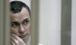 Ukrainian film director Oleg Sentsov during a military court hearing in Rostov-on-Don, southern Russia.